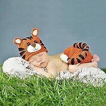 Ateid Disfraz Atrezzo de Fotografía Traje Para Bebé Recién, 0-6 Meses Tigre Amarillo