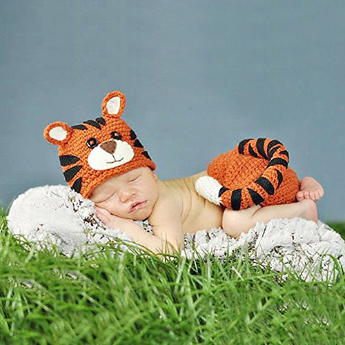 Ateid Fotografia Prop Maglia Costume Outfit Set per Neonato Bambino Tigre