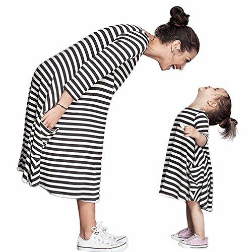 Tomsent Mutter und Tochter Schwarz Weiß Gestreiften Kleid mit Familie Kleid Shirts Beiläufige 3/4-Arm Sommerkleid Partykleid (DE 50 (Mama), Gestreifte) (Alte Mode-prom Kleider)