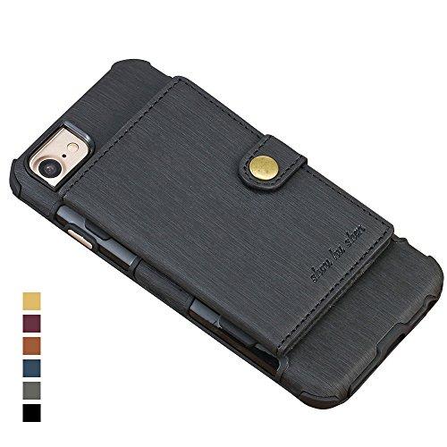 HARRMS Apple iPhone 7 Plus/8 Plus Handy Hülle Case Kunst Leder HandyHülle Handytasche mit Kredit Kartenfächer Geldklammer Schutzhülle, Schwarz