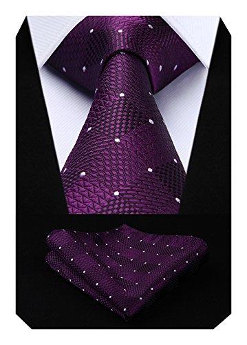 HISDERN Extra Long Check Krawatte Taschentuch Herren Krawatte & Einstecktuch Set Lila und Wei?
