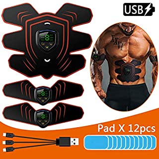 EMS Muscle Stimulator, Muscle Toner Abs Trainer with LCD Display & USB Rechargeable & 12PCS Replacement Gel Pads, Muscle Training Ab Belt Fitness Training Gear for Men & Women (Orange)