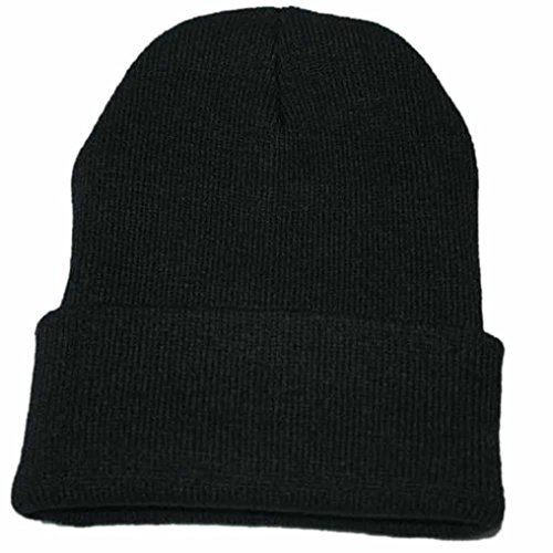 Caldo cappello da sci invernale,yanhoo cappellino hip hop unisex slouchy knitting beanie (formato libero, nero)