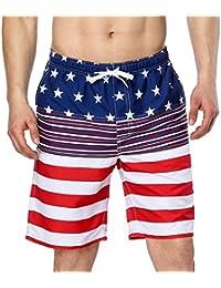 67275534ac ATTRACO Mens Water Sport Beach Shorts USA Flag Swim Boardshort Blue 32