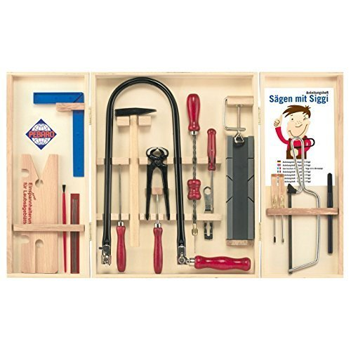 PEBARO Laubsäge-Set im Holzschrank Laubsägeschrank mit Stahlwerkzeugen Klassiker