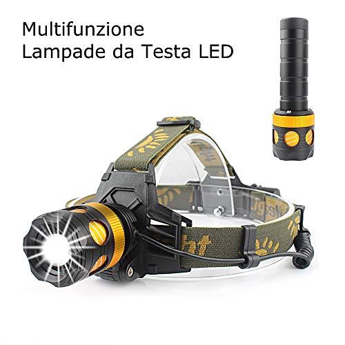 CiSiRUN Lampade da Testa LED,Luce Frontale Impermeabile Zoomable 3 Modalità Può essere trasformato in una torcia elettrica - perfetto per correre, campeggio, corsa, speleologia, pesca