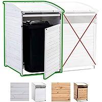 CLP Mülltonnenverkleidung aus Holz | Mülltonnenbox mit aufklappbarem Dach | Mülltonnen-Unterstand mit verschließbarer Tür | In verschiedenen Größen und Farben erhältlich Mülltonnenbox MX240, Weiß