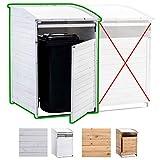CLP box portabidone dei rifiuti in legno 240 litri, per 1 bidone, coperchio ribaltabile, portabidone della spazzatura, nascondi pattumiera da esterno, sportello frontale con meccanismo di chiusura bianco box portabidone MX240