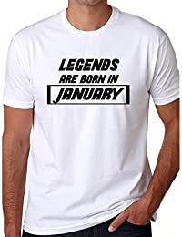 Grafytees Legends Are Born In January White Box Unisex Graphic Printed Birthday Month Round Neck T-Shirt