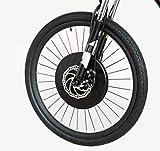 Controlador de motor a batería, todo en un juego de conversión en la rueda delantera de la bicicleta eléctrica 36 V 240 W con recargable USB teléfono soporte (Freno de disco Pantalla LCD 24x1.75)