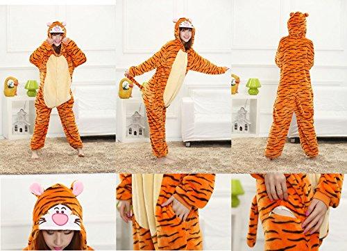 Smile YKK Ensemble Pyjama Déguisement Animaux Combinaison avec Capuche Chic Orange Tigre