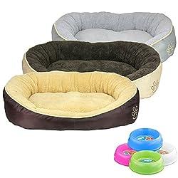 Smartweb Waschbares Flauschiges Hundebett 58 x 48 x 18cm für Hund und Katze Katzenbett Hundekissen Katzenkissen Tierkissen Beige