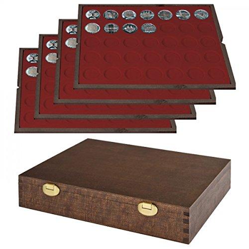LINDNER Echtholz Münzkassette mit 4 Tableaus für 140 Münzen mit Ø 32,5 mm, z.B. für deutsche 20 Euro- BZW. 10 Euro-Silbermünzen - Sonderedition