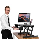 ER Healthy Sit-stand Desktop Computer Workstation | Height-adjustable Standing Desk | Raising and Lowering to Various Positions for Ergonomic Comfort (Black)
