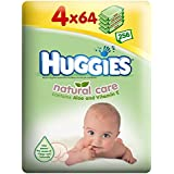 Huggies Natural Baby Care Wipes avec aloès et vitamine E (64 par paquet x 4) -