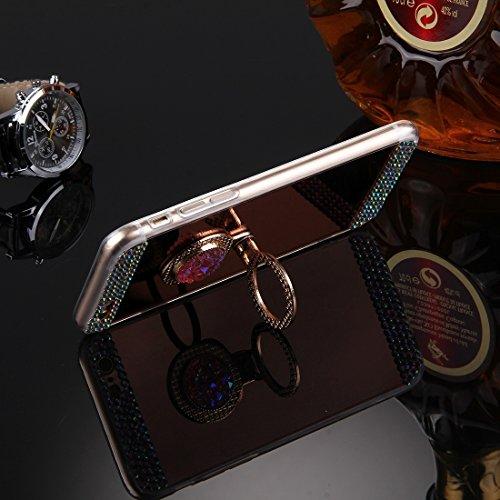Phone case & Hülle Für iPhone 6 / 6s, Diamond verkrustete Galvanik Spiegel Schutzhülle Fall mit versteckten Ring Halter ( Color : Gold ) Rose gold