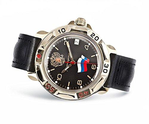 Vostok 211307, Armband Uhr, Russland, Militär, Komandirskije, UDSSR, Soviezunion, Armee, Mechanisch, Wasserdicht, Wappen, Flagge, Schwarz, Roter Stern -