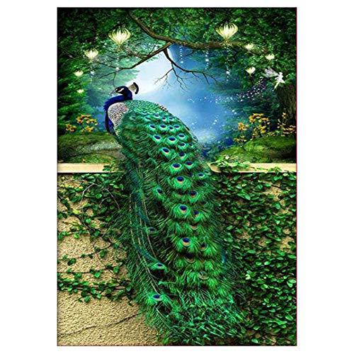 Oce180anYLV Diamant-Haus-Halloween-Thema-Pfau-neues, Peacock Partial Drill Diamant Malerei Wand Handwerk Kreuzstich-Stickerei-Dekor