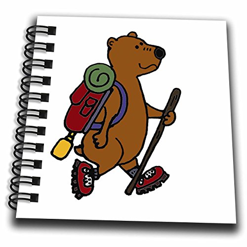 3D Rose Cool Funny Brown Bear Hiking with Backpack and Boots Mini Notepad
