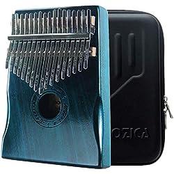 Moozica Caoba tono Madera 17 llaves Kalimba, alta calidad profesional dedo pulgar piano instrumento musical regalo(Verde oscuro)