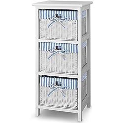 Korbregal Standregal Regal Holzregal aus Paulownia-Holz 3 Körbe blau-weiß