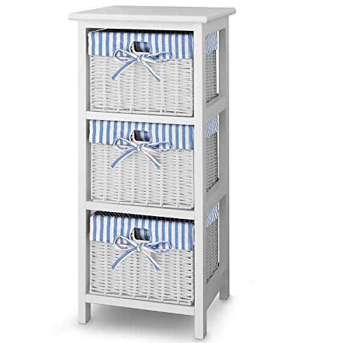 Preisvergleich Produktbild Korbregal Standregal Regal Holzregal aus Paulownia-Holz 3 Körbe blau-weiß