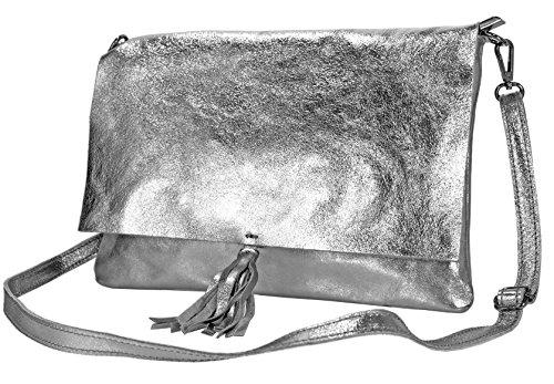 1b91fb60ca050 Echt Leder Damen Tasche Ledertasche Umhängetasche Schultertasche (bronze  metallic) silber