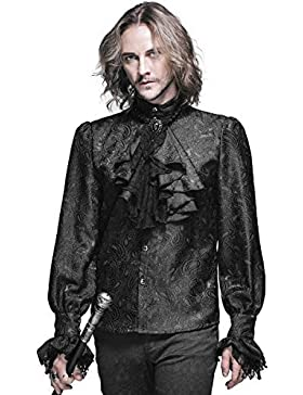 Devil Fashion Mens Gotico Camicia Maglietta Nero Steampunk Regency Aristocrat + Foulard