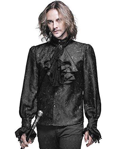 Devil Fashion Mens-gotik Hemd Schwarz Steampunk Regentschaft Aristocrat + Krawatte - Schwarz,...