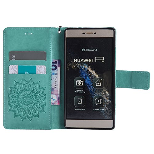 Coque Cuir Etui Pour Huawei P8 Lite,Huawei P8 Lite Portable Coque Housse,Ekakashop Jolie Pourpre Tournesol Painting Bookstyle Rabat Shell Silicone Etui Flip Cover Smart Case Housse de Protection Porte Vert