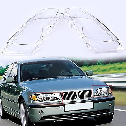 POSSBAY Plastic Car Headlight Headlamp Lens Cover Replacement 4D Left & Right
