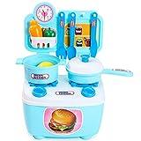 Erencook Kinder Spielzeug Kinderküche Rollenspiele Lernspielzeug Küchenspielzeug Spielküche Kinderspielküche Küche Portable (Blau)