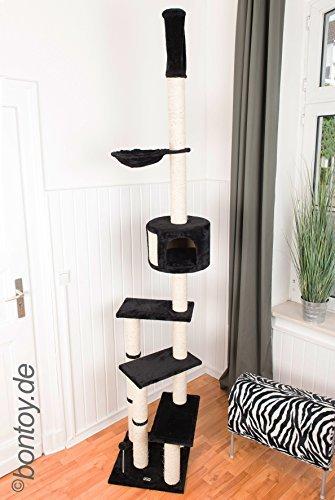 Bontoy Kratzbaum Pascha Deckenhoch mit 3 Ebenen 240-260cm schwarz