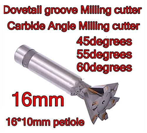 L-Yune, Werkzeuge 16mm * 45-55-60 Grad 4F hartmetall winkelfräser schwalbenschwanznut fräser verarbeitung Kupfer Aluminium gusseisen, (Dimensions : 55 Degrees)