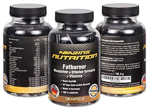 Fatburner mit Macapulver + Tribulus Terrestris + Grün Tee Extrakt + Traubenkern-Extrakt (OPC) + Koffein + Pfeffer-Extrakt + Vitamine (B1, B2,B6, B12) + Folsäure + Pantothensäure und Niacin) – 100 Kapseln –