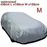 MultiWare Auto Abdeckung Autogarage Ganzgarage Abdeckung Abdeckplane Autoplane Wasserdicht UV Sonne Regen Schutz Silber M:430*160*120CM