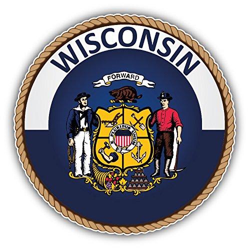 Wisconsin USA State Seal Auto-Dekor-Vinylaufkleber 12 X 12 cm - Wisconsin State Seal