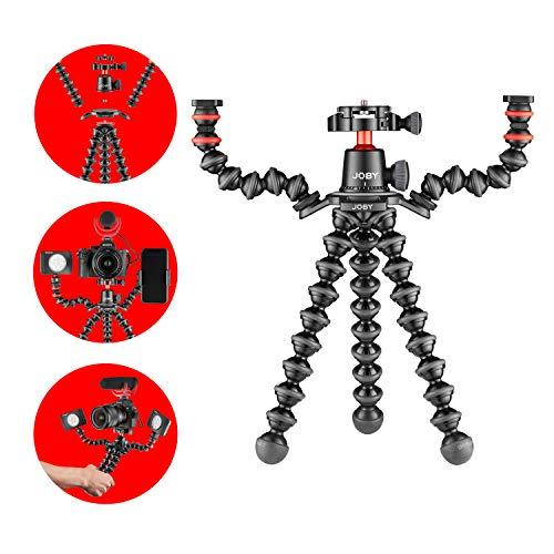 Joby JB01567-BWW GorillaPod 3K PRO Rig, Flexibles Stativ Kit für Vlogging, Spiegellose Systemkameras, mit Kugelkopf/Armen für Leuchten, Mikros, Action-Cams, für Canon, Nikon, Sony, GoPro,aus Aluminium