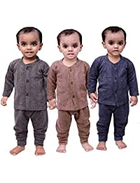 Mahi Fashion Baby's Front Open Thermal Suit Top & Pajama Set - Pack of 3