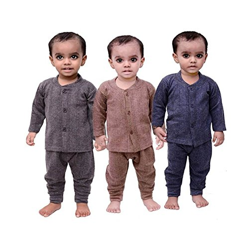 Mahi Fashion Baby Fleece Thermal Top and Pyjama Set (Multicolour, 12-18 Months) - Pack of 3