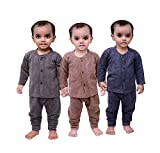 #7: Mahi Fashion Baby's Front Open Thermal Suit Top & Pajama Set - Pack of 3