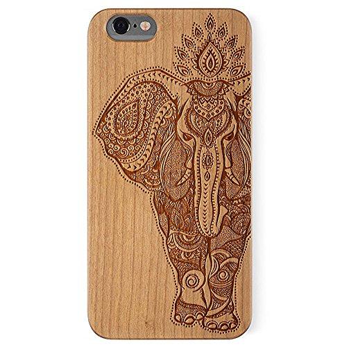 Cover iPhone 6 Plus/6S Plus, Custodia Apple 6 Plus/6S Plus, Custodia Case Cover di legno Naturale per Apple iPhone 6 Plus/6S Plus(5.5 Pollici)Bumper Rigida Cellulare Cover Protettiva in vero Legno Woo Cherry Elephant