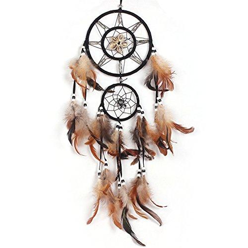 Acchiappasogni a rete con piume, realizzato a mano in stile tradizionale degli indiani d'America, decorazione da appendere alla parete o in auto, in vari stili, ottima idea regalo LD243 LD242