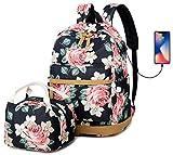 Femmes Sac à dos Fleur Sac à Dos d'école Le Filles d'adolescent avec la boîte à Lunch,Sac à Dos avec Chargement USB pour l'ordinateur Portable 15.6 Inch Résistant à l'eau Floral