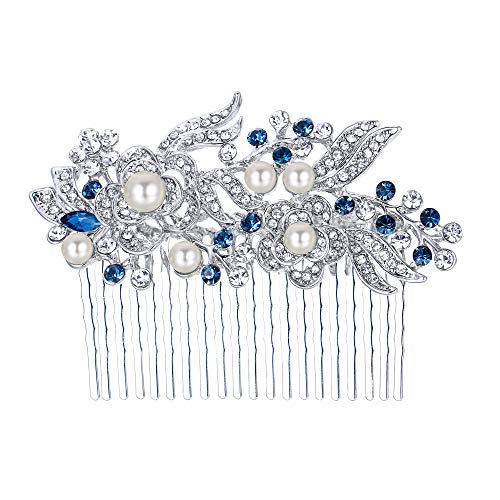 N Einfache Schnelle Kostüm - Ever Faith österreichischen Kristall Künstliche Perle Blume Braut Haarkamm Haarschmuck - blau-20-Zähne-Silber-Ton