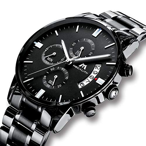 Relojes de Hombre Reloje Grandes de Pulsera MilitaryCronógrafo Impermeable Negro Acero Inoxidable Reloj para Hombres Calendario Diseño Analógico