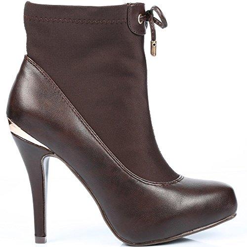 Traseira Alguma Métalisée Placa Tornozelo A E Ideais Nadina Elasticidade Inicialização Do Castanho material Sapatos Com Bi 70pqOwxU