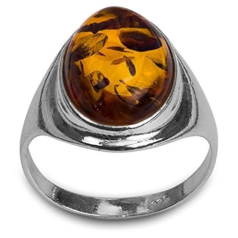 Noda bague en ambre miel et argent 925/1000 ovale taille