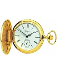 Woodford Swiss-Made Full-Hunter Pocket Watch, 1016, Men's Deep Gold-Plated Separate Second-Hand Dial with Chain (Suitable for Engraving)