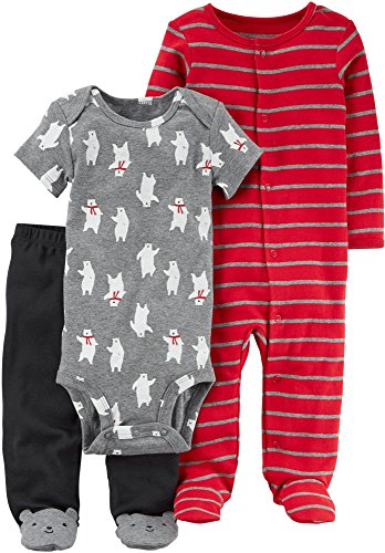 Carters Eisbär (Carter's 3 Stück Eisbär Bodysuit Hosen und Overall für Baby - Jungen eingestellt 3 Monate rot)